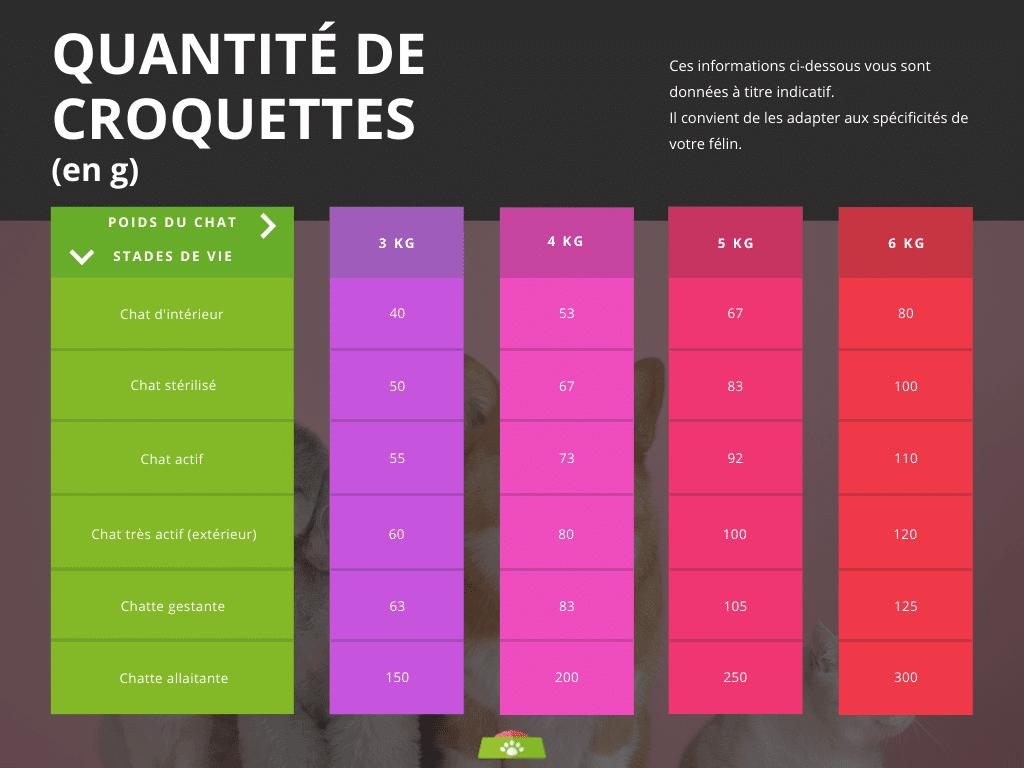 TABLEAU QUANTITÉ DE CROQUETTES - KIBBS
